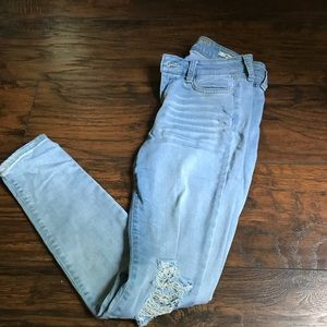 Ripped low rise jeans